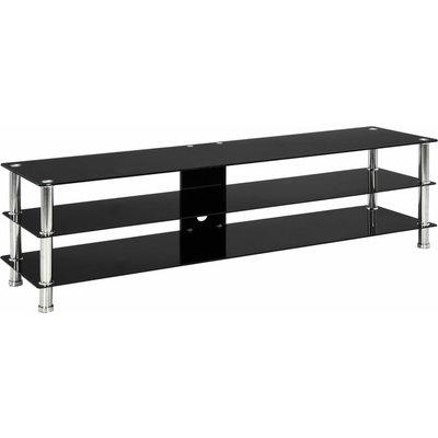 TV Stand Tempered Glass Black 150x40x40 cm - Black - Vidaxl