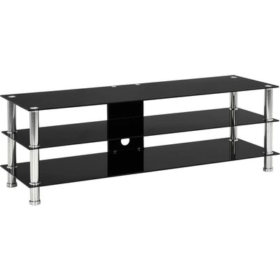 TV Stand Tempered Glass Black 120x40x40 cm - Black - Vidaxl