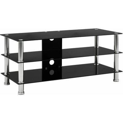 TV Stand Black 90x40x40 cm Tempered Glass - Black