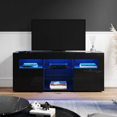 TV Stand Cabinet RGB LED Lights High Gloss Storage Entertainment Unit Black