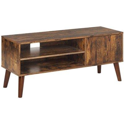 Retro TV Unit Cabinet 2 Shelves Dark Wood Living Room Vanler