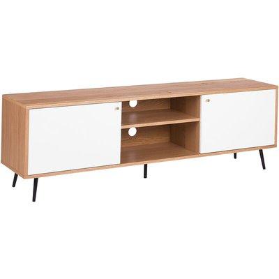 Beliani - Scandinavian TV Stand Unit Light Wood Frame White Storage Unit Rochester