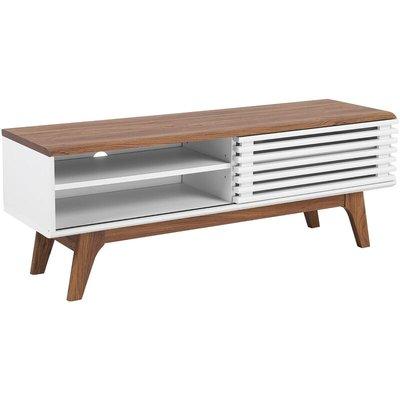 Beliani - Modern TV Stand Unit Dark Wood White Slide Front Storage Shelf Sideboard Toledo
