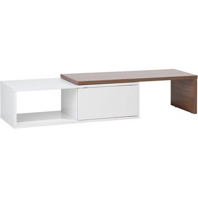 Beliani - Modern TV Stand Media Unit MDF Shelves Sliding Top White and Wood Finish Yonkers