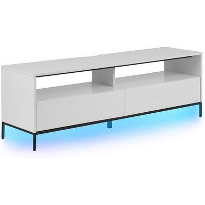 Beliani - Modern TV Stand White Metal Legs LED Lights Storage Cabinets Drawers Sydney