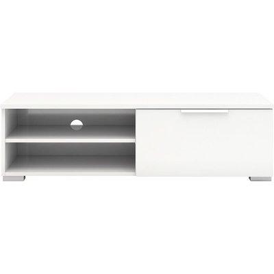 Tv Unit 1 Drawers 2 Shelf In White High Gloss
