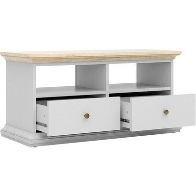TV Unit - 2 Drawers 2 Shelves in White and Oak - NETFURNITURE