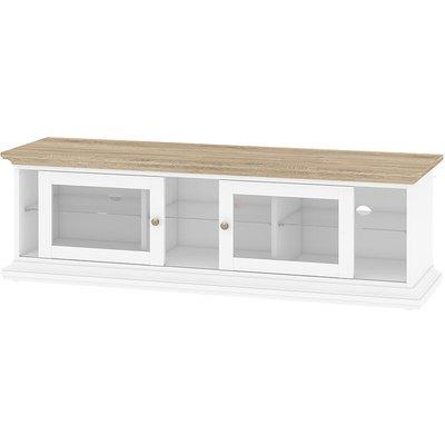 Tv Unit - Wide - 2 Doors 1 Shelf In White Oak