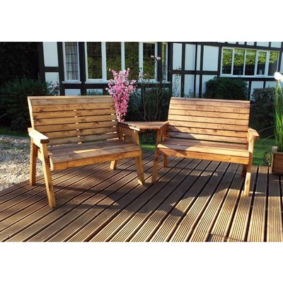 Twin 2 Seater Bench Set Quality, Wooden Garden Furniture, fully assembled - CHARLES TAYLOR