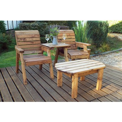 Twin Companion Set Dining - Straight. Quality Wooden Garden Furniture, fully assembled - CHARLES TAYLOR