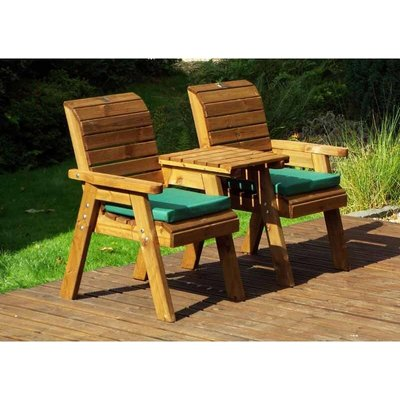 Twin Companion Set Straight with Green Cushions - Fully Assembled - CHARLES TAYLOR