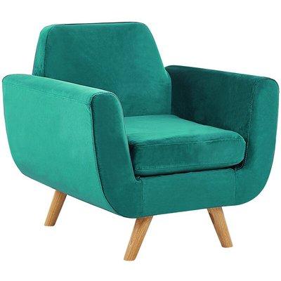 Beliani - Armchair Green Retro Velvet Upholstery Seat Cushion Removable Cover Bernes
