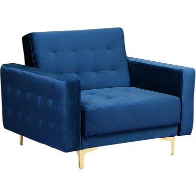 Beliani - Modern Armchair Reclining Day Bed Tufted Navy Blue Velvet Aberdeen