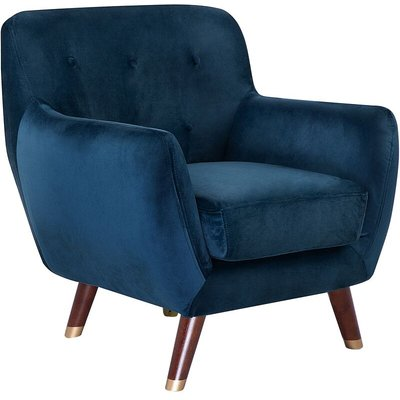 Modern Velvet Armchair Navy Blue Tufted Backrest Solid Wood Legs Bodo