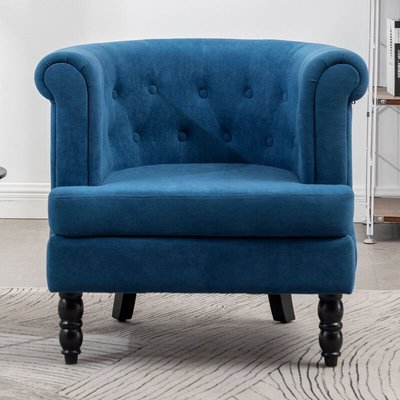 Velvet Buttoned Armchair Tub Fireside Chair,Blue
