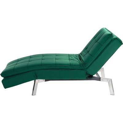 Beliani - Modern Fabric Chaise Lounge Adjustable Back Legs Emerald Green Velvet Loiret