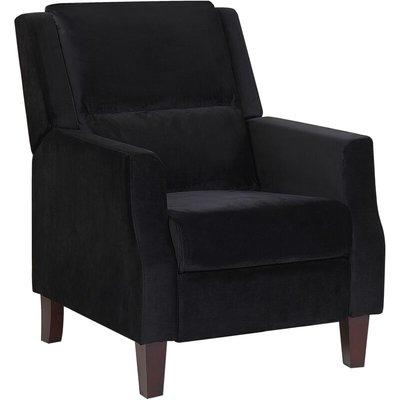 Beliani - Retro Reclining Chair Adjustable Back Footrest Velvet Upholstery Black Egersund