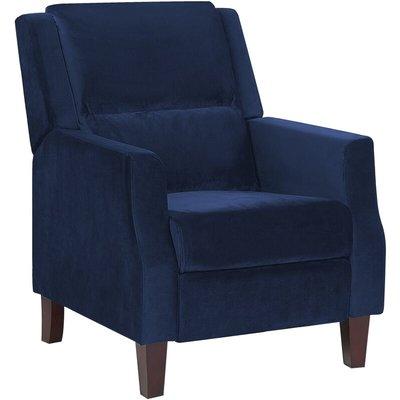 Beliani - Retro Reclining Chair Adjustable Back Footrest Velvet Upholstery Blue Egersund
