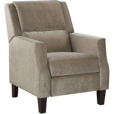 Beliani - Retro Reclining Chair Adjustable Back Footrest Velvet Upholstery Taupe Egersund