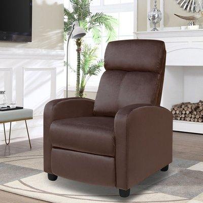 Velvet Recliner Sofa Adjustable Reclining Armchair, Brown - LIVINGANDHOME