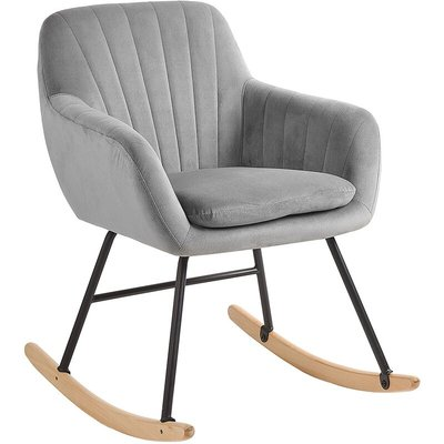 Beliani - Modern Rocking Chair Wooden Skates Rocker Velvet Seat Grey Liarum