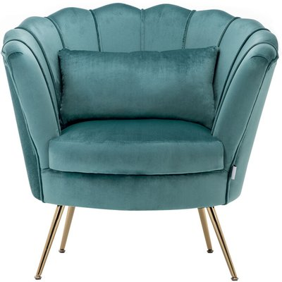 Velvet Scalloped Accent Tub Chair With Cushion, Teal - LIVINGANDHOME