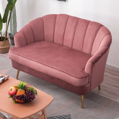 Velvet Shell 2 Seater Sofa With Cushion, Pink