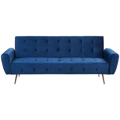 Beliani - Modern Velvet Sofa Bed Blue Convertible Sleeper Tufted Metal Copper Legs Selnes