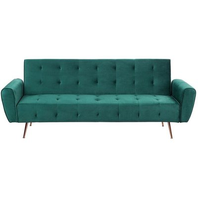 Beliani - Modern Velvet Sofa Bed Green Convertible Sleeper Tufted Metal Copper Legs Selnes