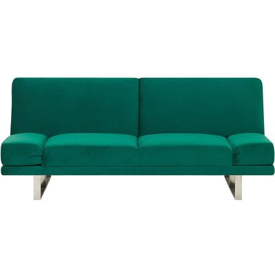 Velvet Sofa Bed Green YORK - BELIANI