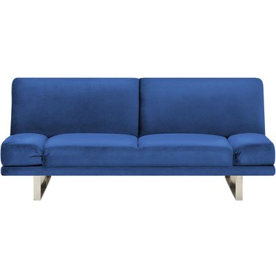Velvet Sofa Bed Navy Blue YORK - BELIANI