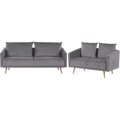 Velvet Sofa Set Grey MAURA - BELIANI