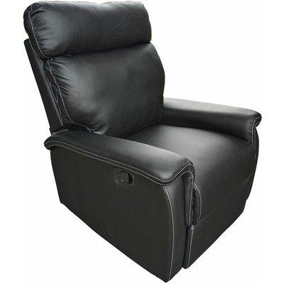 Venus PU Leather Recliner Chair in Dark Brown or Black - Black