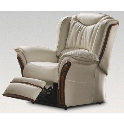 Verona Manual Reclining Armchair Sofa Genuine Italian Cream Leather Offer - DESIGNER SOFAS 4 U