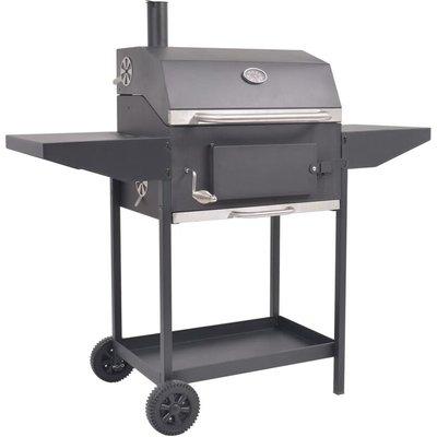 BBQ Charcoal Smoker with Bottom Shelf Black - Black - Vidaxl