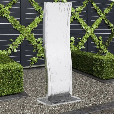 vidaXL Garden Fountain with Pump Stainless Steel 130 cm Curved - Silver