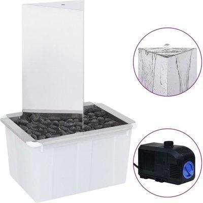 Garden Fountain with Pump Stainless Steel 76 cm Triangular - Silver - Vidaxl