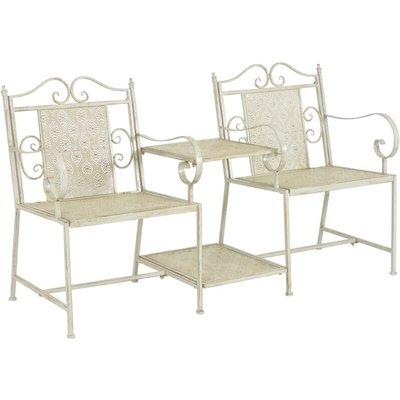 2 Seater Garden Bench 161 cm Steel White - VIDAXL