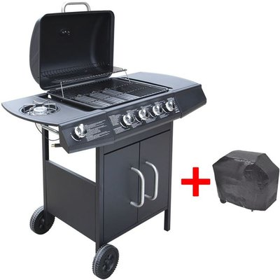 Gas Barbecue Grill 4+1 Cooking Zone Black - VIDAXL