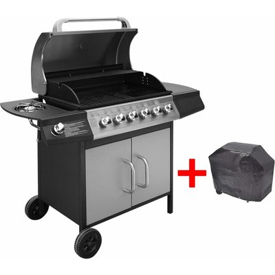 Gas Barbecue Grill 6+1 Cooking Zone Black and Silver - Multicolour - Vidaxl