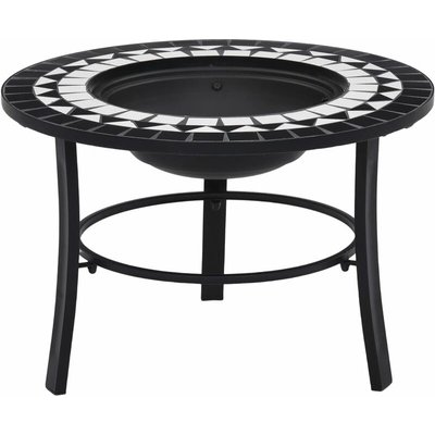 Mosaic Fire Pit Black and White 68cm Ceramic - Black - Vidaxl