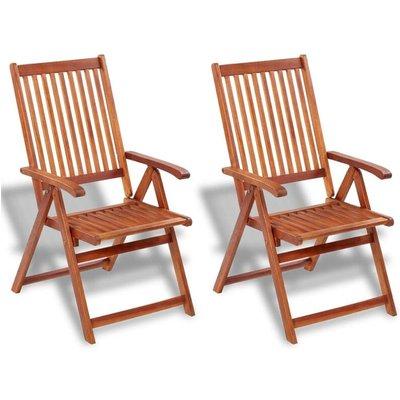 Folding Garden Chairs 2 pcs Solid Acacia Wood Brown - VIDAXL
