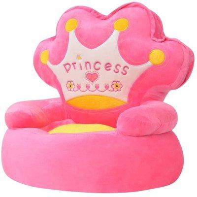 Plush Children's Chair Princess Pink - VIDAXL