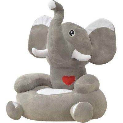 Plush Children's Chair Elephant Grey - VIDAXL