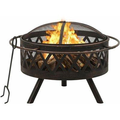 vidaXL Rustic Fire Pit with Poker 76 cm XXL Steel - Black