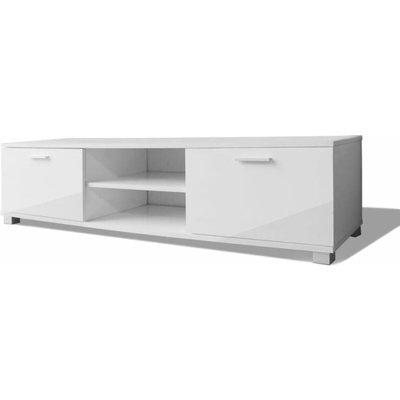 TV Cabinet High-Gloss White 140x40.3x34.7 cm - White - Vidaxl