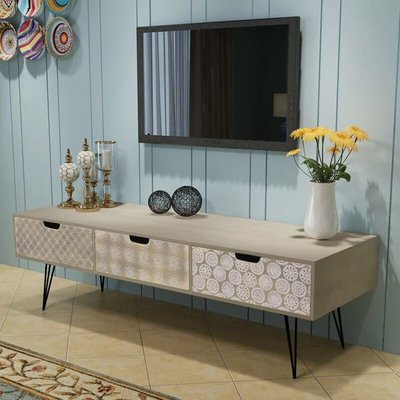vidaXL TV Cabinet with 3 Drawers 120x40x36 cm Grey - Grey