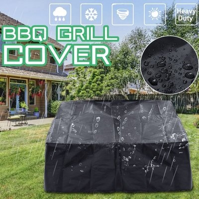 Waterproof Black Gas Grill Cover Barbecue Protection Grill Outdoor Garden Patio 86X86 Cm - INSMA