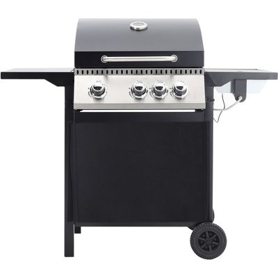 Livingandhome - Wheel 3+1 Burner Gas BBQ Grill Cart Type Outdoor Patio Barbecue with Side Burner