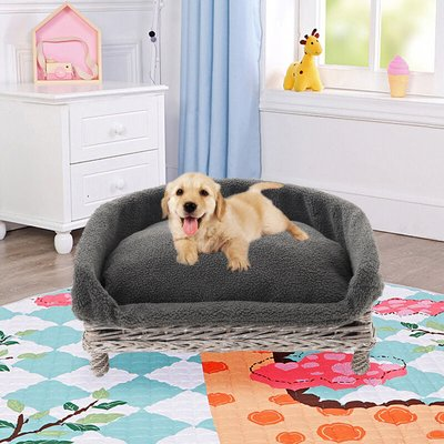 Wicker Woven Pet Cat Dog Sofa Couch Cushion Blanket Padded Bed Settee Grey - LIVINGANDHOME